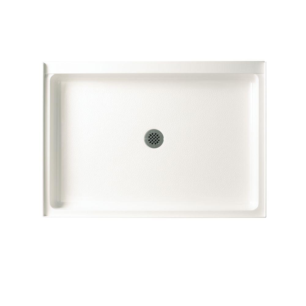 Veritek 34 in. x 54 in. Single Threshold Center Drain Shower Pan in White