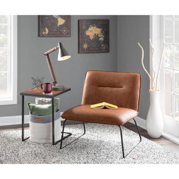 Lumisource Casper Industrial Camel Faux Leather Accent Chair Chr