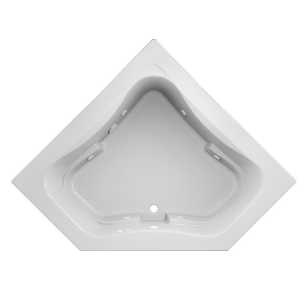 Projecta 60 in. x 60 in. Acrylic Corner Drop-In Whirlpool Bathtub in White