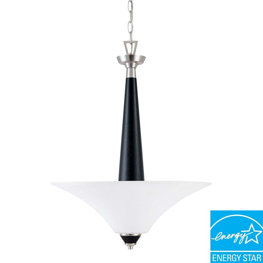 Glomar Keen 3-Light Nickel and Black Hanging Pendant