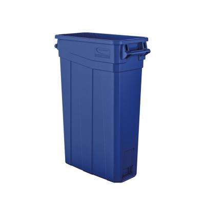 Slim 23 Gal. Blue Plastic Trash Can With Handles