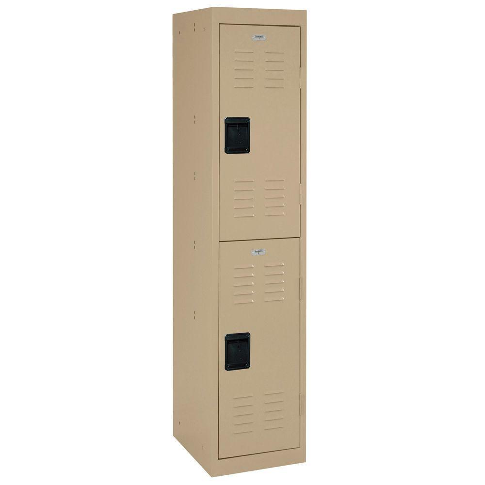 Sandusky 66 in. H 2-Tier Welded Steel Storage Locker in Putty