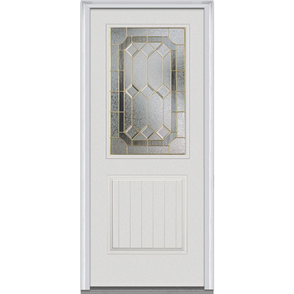 32 in. x 80 in. Majestic Elegance Left-Hand 1/2 Lite 2-Planked