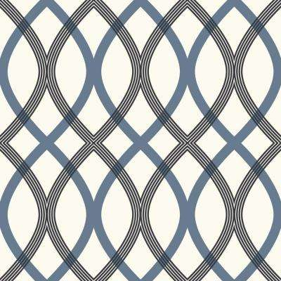 Contour Blue Geometric Lattice Wallpaper Sample