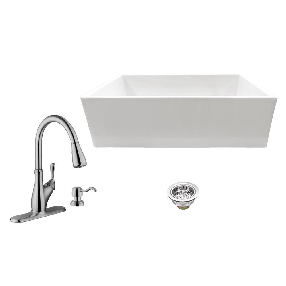 All-in-One Apron Front Fireclay 33 in. Single Bowl Kitchen Sink with