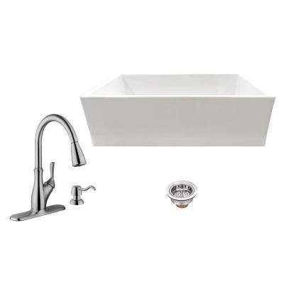 All-in-One Apron Front Fireclay 33 in. Single Bowl Kitchen Sink with Faucet and Strainer in White