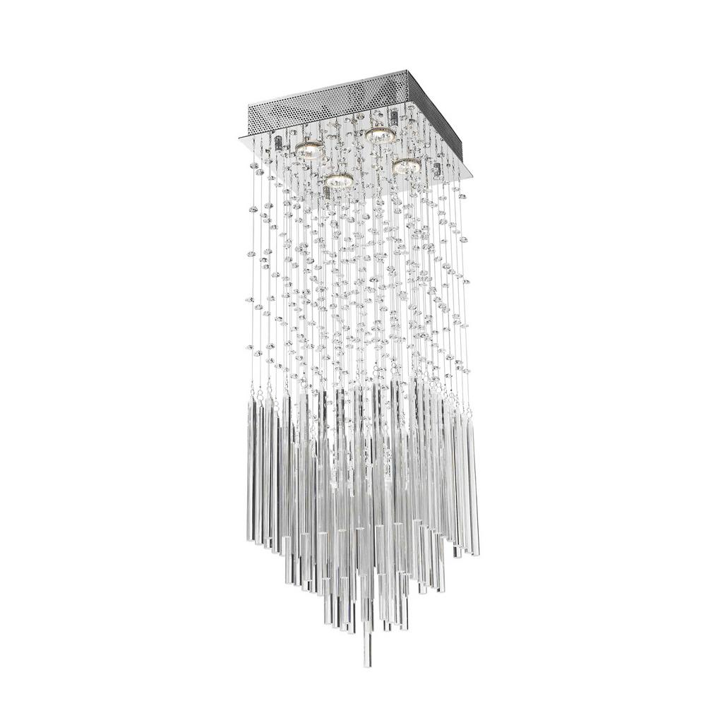 Worldwide Lighting Torrent Collection 4-Light Chrome and Clear ...