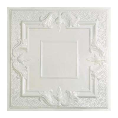 Niagara 2 ft. x 2 ft. Lay-in Tin Ceiling Tile in Gloss White