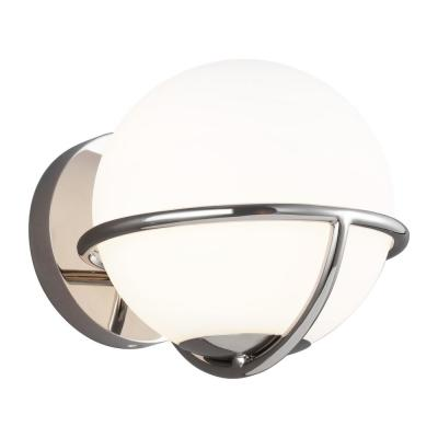 ED Ellen DeGeneres Crafted by Generation Lighting Apollo 7.125 in. W 1-Light Polished Nickel Sconce with White Orb Shade