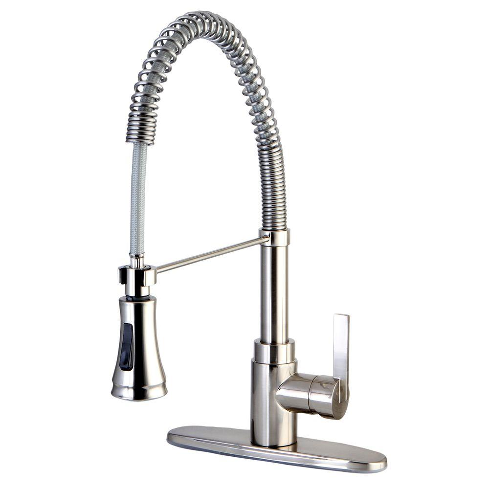 Single Handle Pull Down Sprayer Kitchen Faucet In Satin Nickel