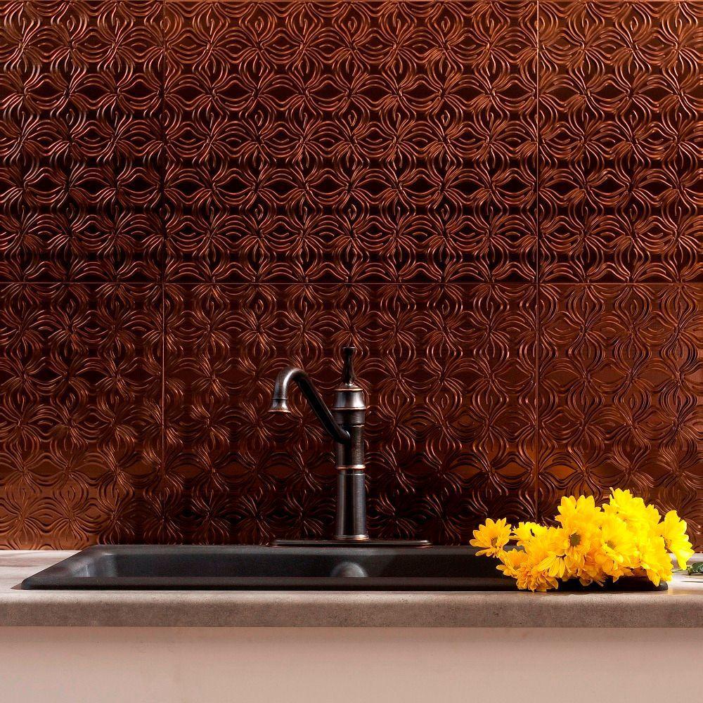 Fasade 24 in. x 18 in. Lotus PVC Decorative Tile Backsplash in Oil Rubbed Bronze