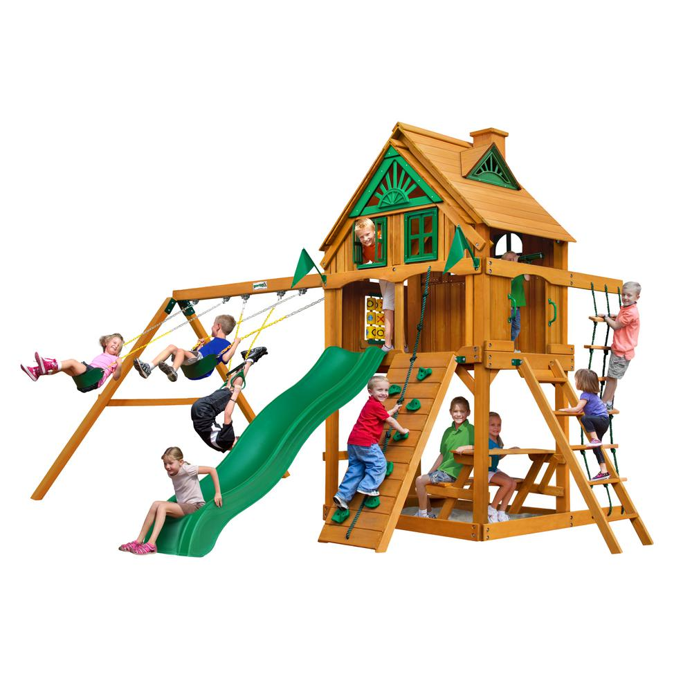 Chateau Treehouse Cedar Swing Set with Fort Add-On and Natural Cedar