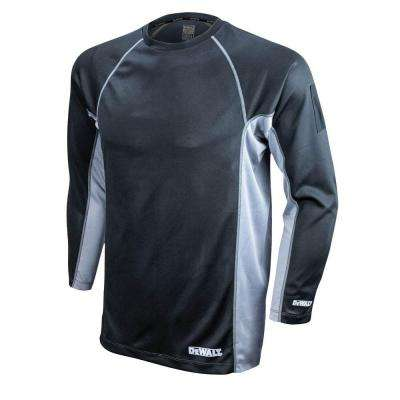 Men's Large Black and Gray Long Sleeve Performance T-Shirt