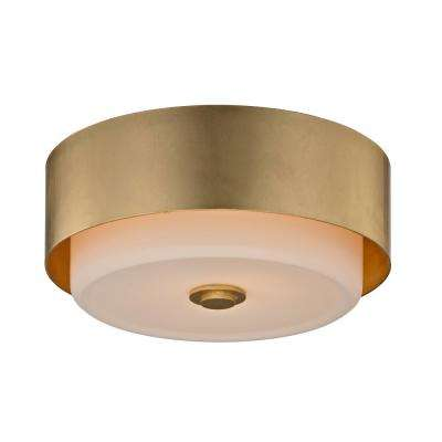 Allure 2-Light Gold Leaf Round Flushmount with Opal White Glass Shade