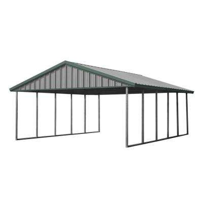 Premium Canopy 20 ft. x 24 ft. Light Stone and Patina Green All Steel Carport Structure with Durable Galvanized Frame