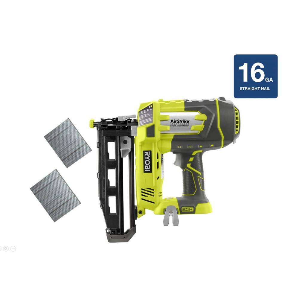 Ryobi 18-Volt ONE+ Cordless AirStrike 16-Gauge Cordless Straight Finish Nailer (Tool-Only)