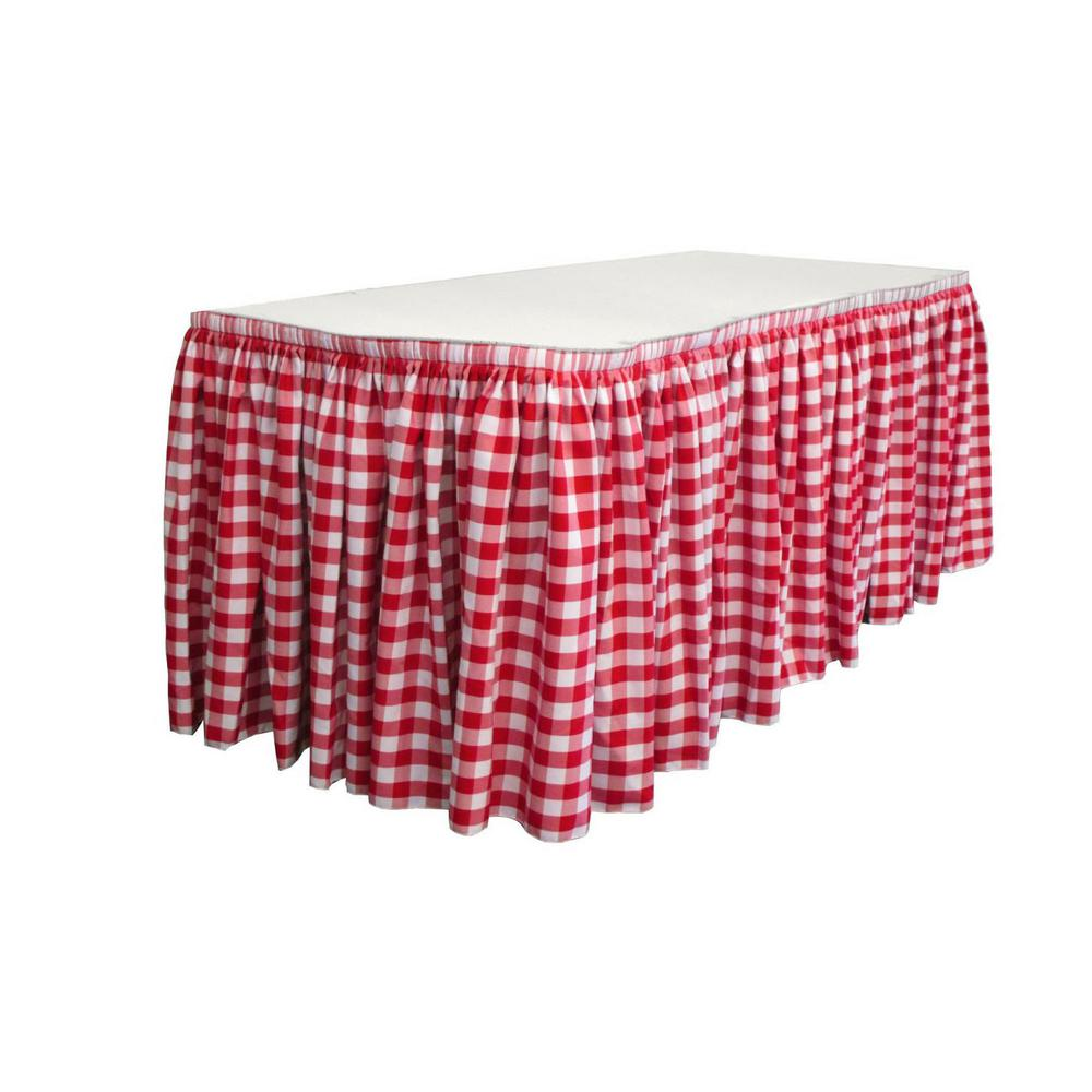 17 ft. x 29 in. Long White and Red Polyester Gingham