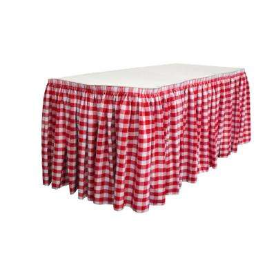 17 ft. x 29 in. Long White and Red Polyester Gingham Checkered Table Skirt with 10 L-Clips