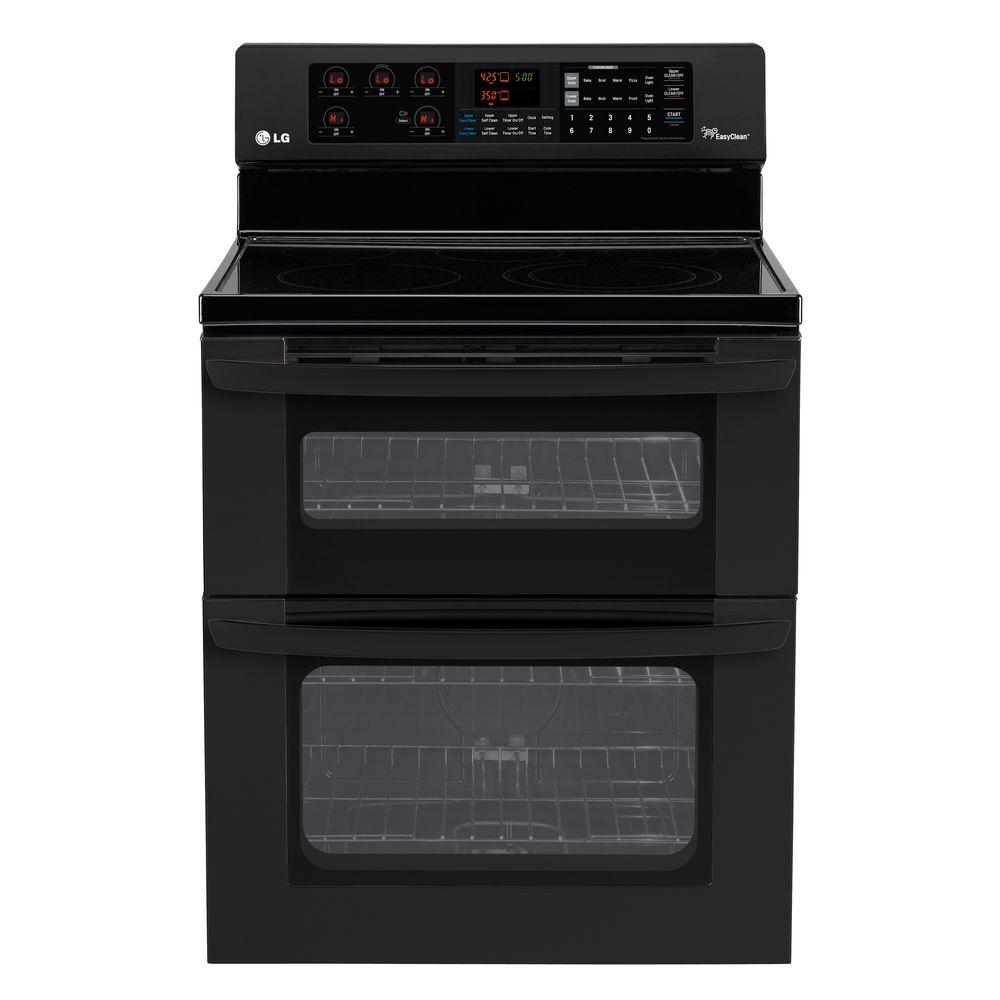 LG Electronics 6.7 cu. ft. Double Oven Electric Range with Self-Cleaning Oven in Smooth Black