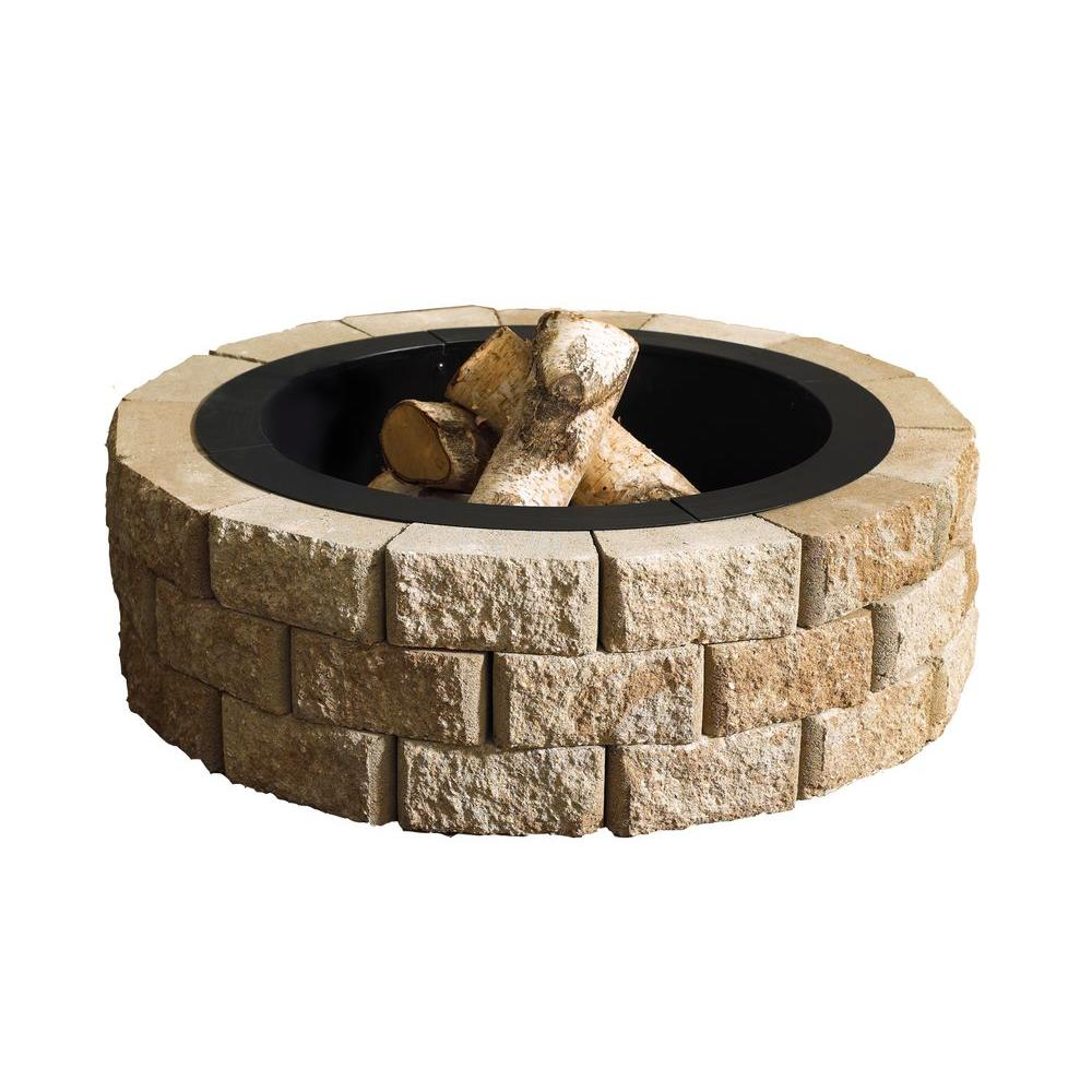 Round Fire Pit Kit - Oldcastle Hudson Stone 40 In. Round Fire Pit Kit-70300877 - The Home