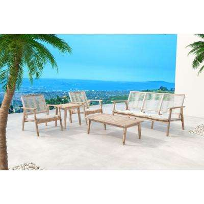 South Port White Arm Wash Wood Outdoor Lounge Chair in White (2-Pack)