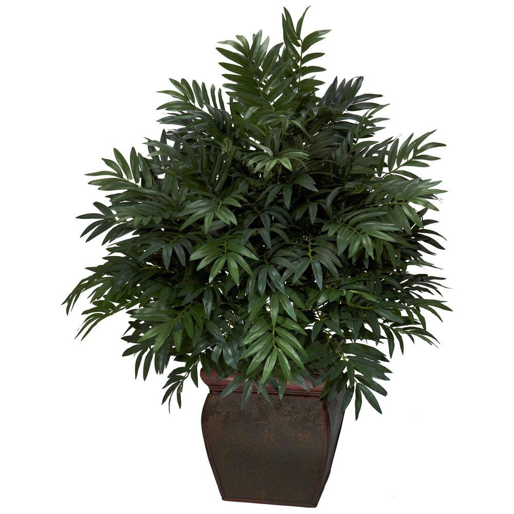 null 43 in. H Green Triple Bamboo Palm with Decorative Planter Silk Plant