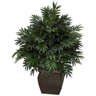 43 in. H Green Triple Bamboo Palm with Decorative Planter Silk Plant