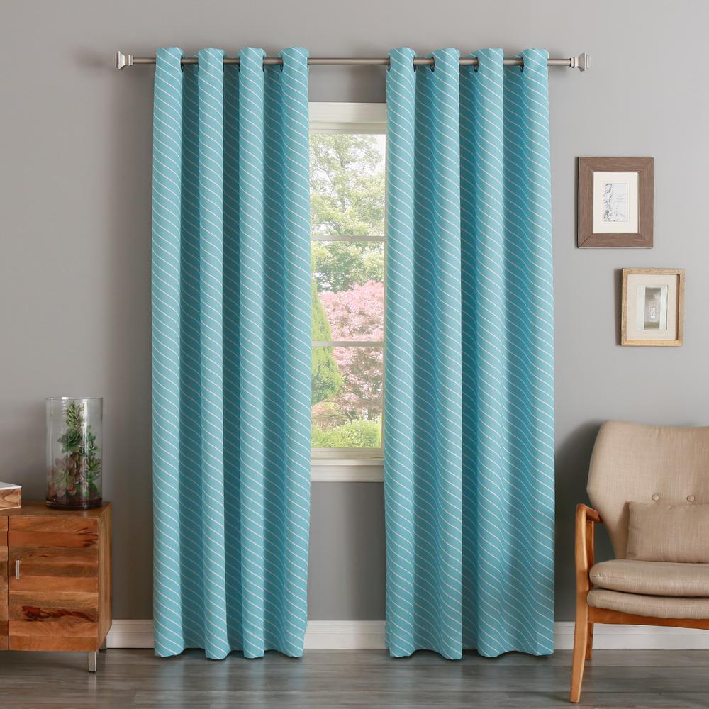 L Room Darkening Diagonal Stripe Curtain Panel In Ocean