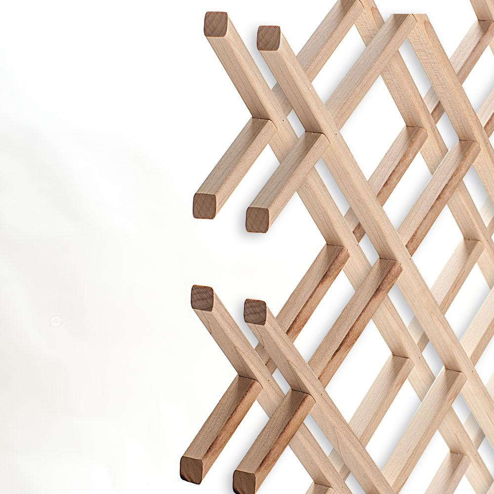 14-Bottle Trimmable Wine Rack Lattice Panel Inserts in Unfinished Solid North