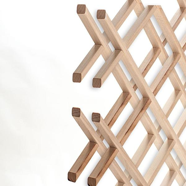 American Pro Decor 14-Bottle Trimmable Wine Rack Lattice Panel Inserts in Unfinished Solid North American Hard Maple