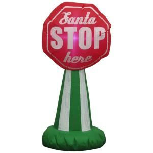 Deals on Home Accents Holiday 3.51 ft. Pre-lit Santa Stop Sign Airblown