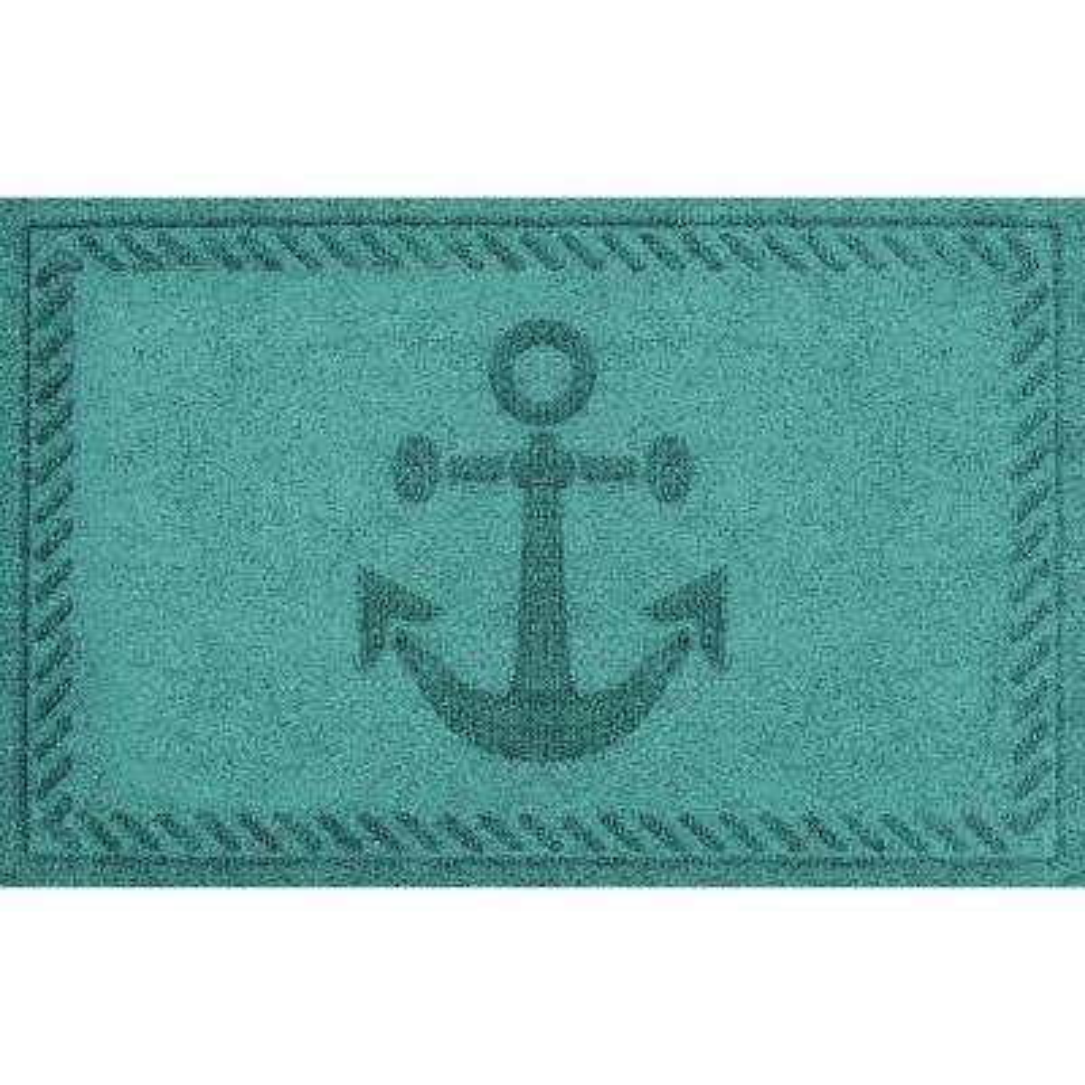 Aquamarine 24 in. x 36 in. Ships Anchor Polypropylene Door Mat