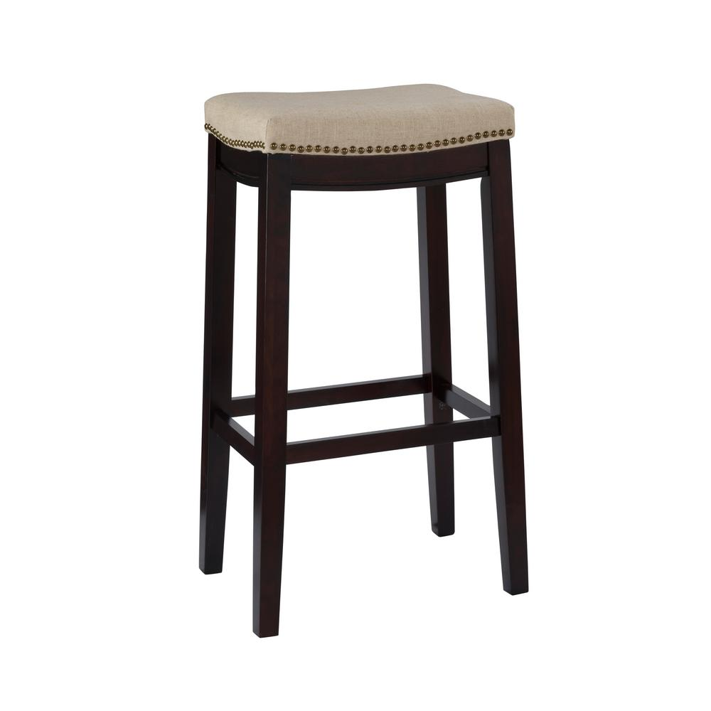 Linon Home Decor Hampton 30 In Dark Walnut Cushioned Bar Stool