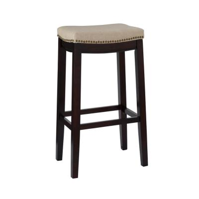 Hampton 30 in. Dark Walnut Cushioned Bar Stool