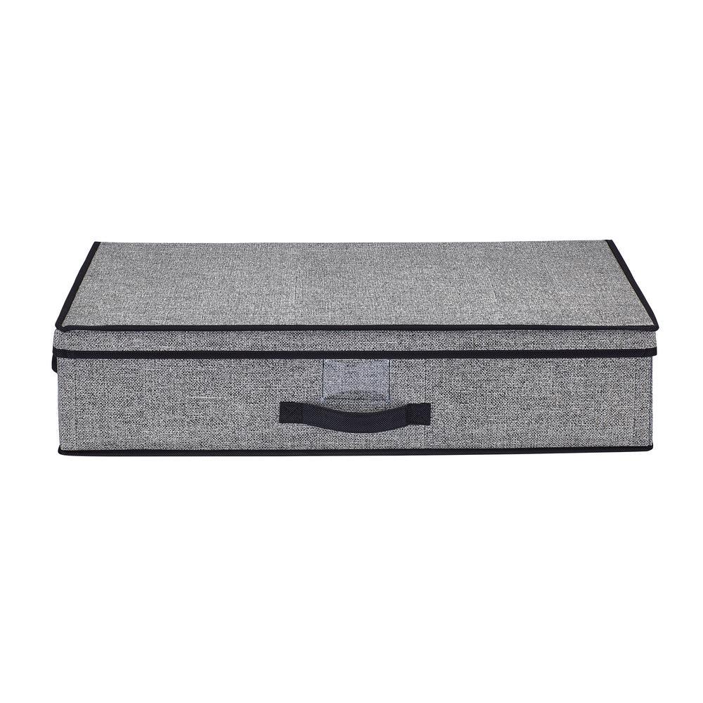 16 in. W x 6 in. H x 28 in. D Black Under-the-Bed Storage Box