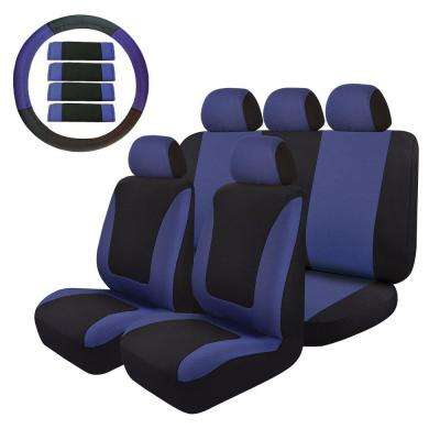 47 in. x 23 in. x 1 in. Universal Seat Covers Full Set Cloth Fit Most Car SUV Truck in Blue/Black (14-Piece)