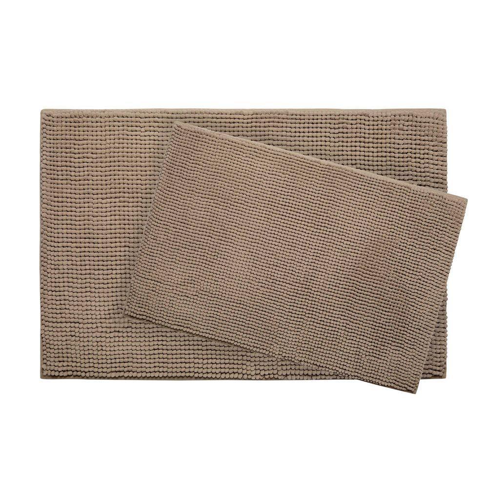 Plush Chenille 17 in. x 24 in./ 20 in. x 30 in. 2-Piece Memory Foam Bath Mat Set in Linen