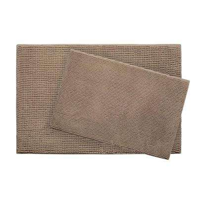 Plush Chenille 17 in. x 24 in./ 20 in. x 30 in. 2-Piece Memory Foam Bath Mat Set in Linen