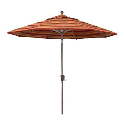 9 ft. Champange Aluminum Market Auto-tilt Crank Lift Patio Umbrella in Astoria Sunset Sunbrella