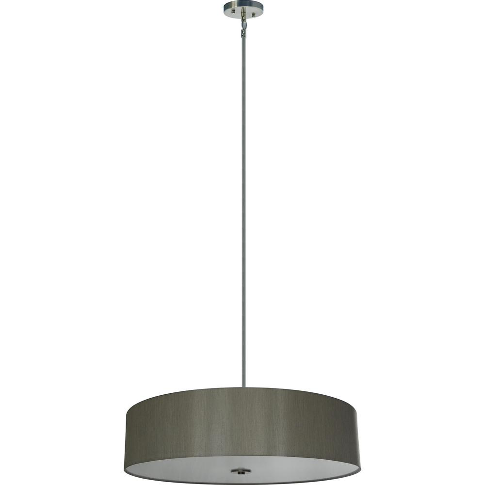 Illumine 5-Light Satin Steel Chandelier with Toffee Crunch Fabric Shade  sc 1 st  The Home Depot & Illumine 5-Light Satin Steel Chandelier with Toffee Crunch Fabric ... azcodes.com