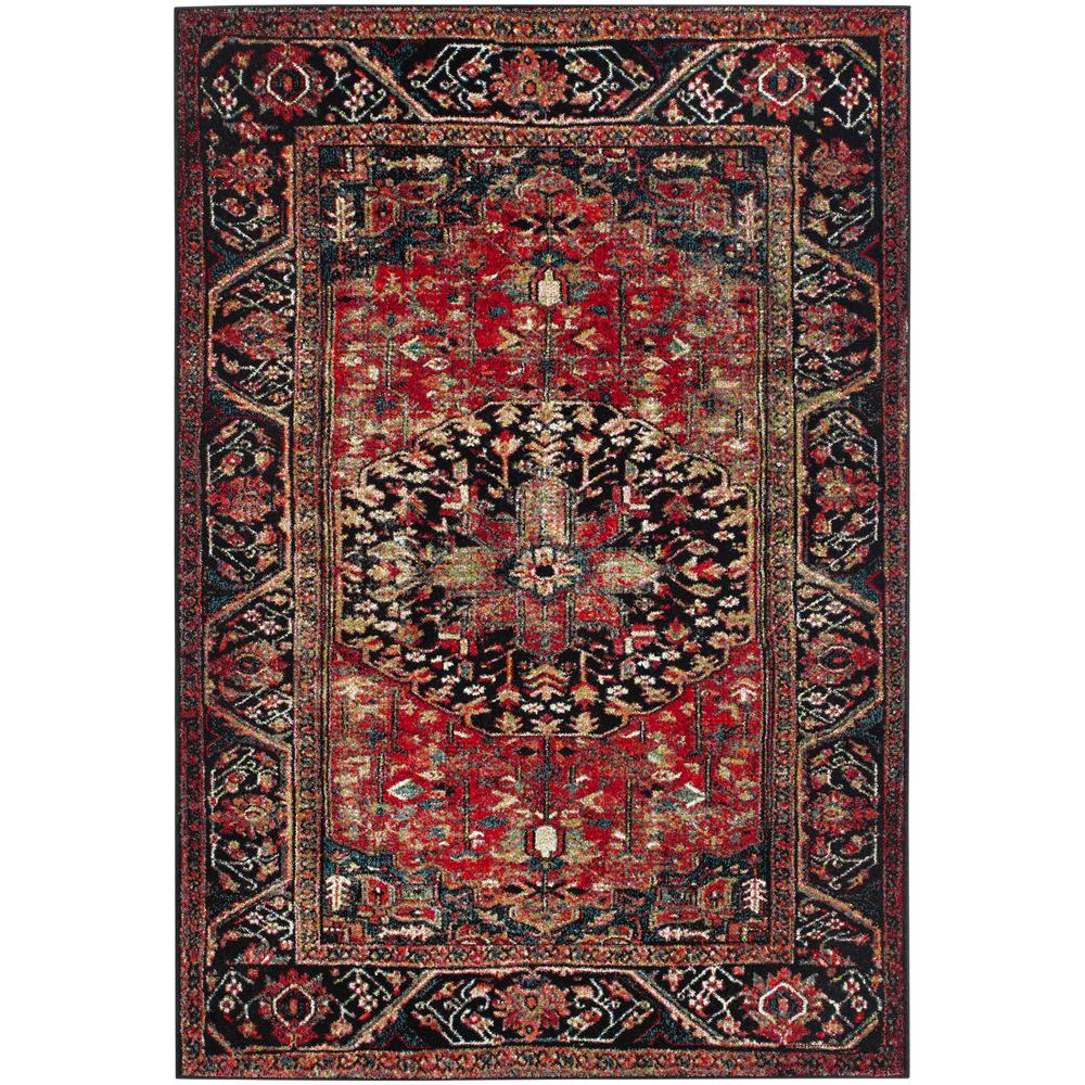 Vintage Hamadan Red Multi 4 Ft X 6 Area Rug