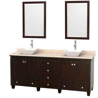 Acclaim 80 in. W Double Vanity in Espresso with Marble Vanity Top in Ivory, White Sinks and 2 Mirrors