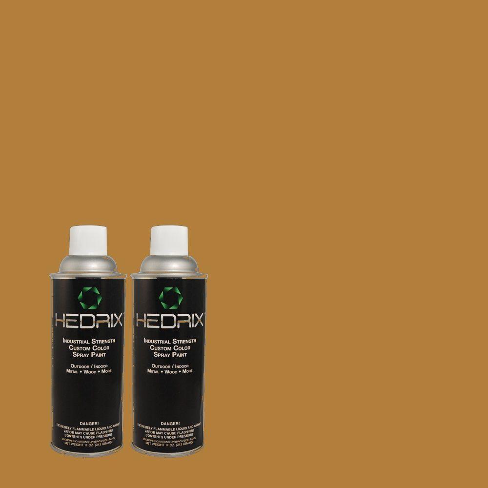 Hedrix 11 oz. Match of MQ4-6 Invitation Gold Flat Custom Spray Paint (2-Pack)