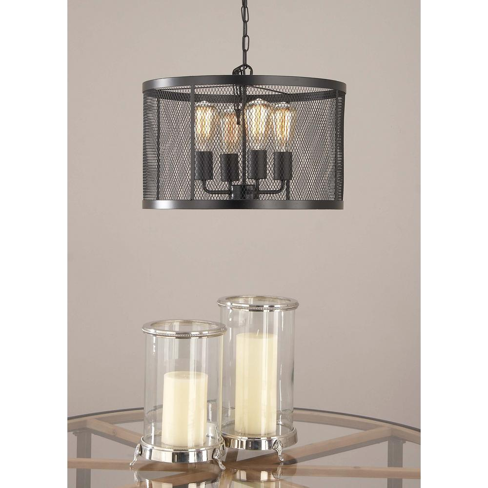 Litton Lane 5 Light Pendant With Matte Black Drum Type Iron Wire Mesh Shade 59293 The Home Depot