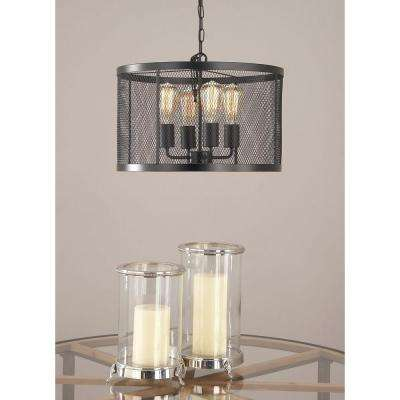 5-Light Pendant with Matte Black Drum-Type Iron Wire Mesh Shade