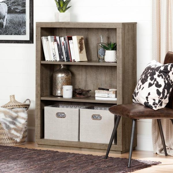 South Shore Kanji Weathered Oak Open Bookcase 10483
