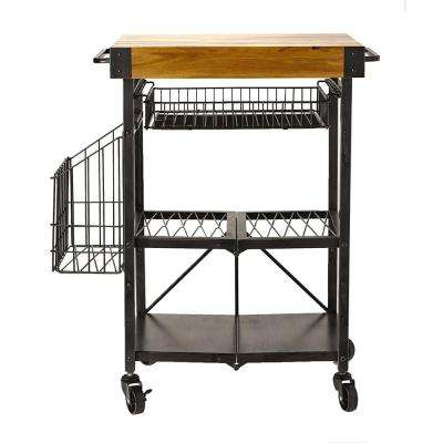 Folding Kitchen Cart with Extra Baskets
