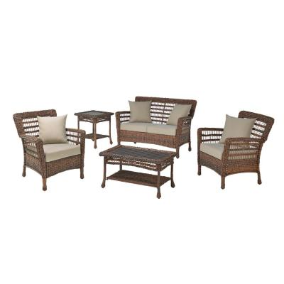 Modern Concept 5-Piece Faux Sea Grass Resin Rattan Wicker Outdoor Patio Conversation Set with Beige Cushions
