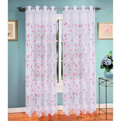 Birch Leaf Embroidered Sheer Grommet Extra Wide Curtain Panel, 54 in.W x 84 in. L