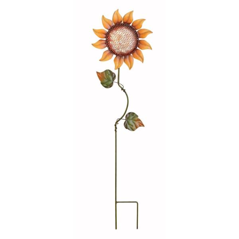 28 in. Metal Sunflower Stake in Orange (Set of 2)